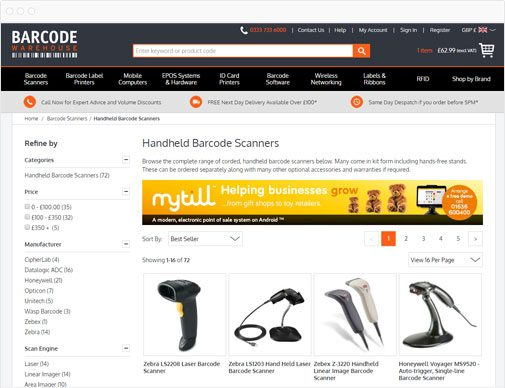 The Barcode Warehouse category page