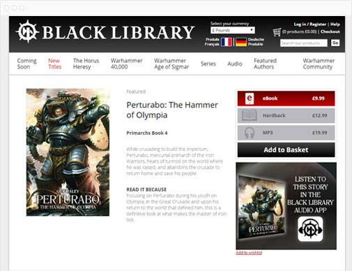 Black Library product detail page