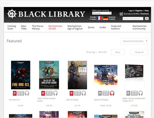 black Library product listings page