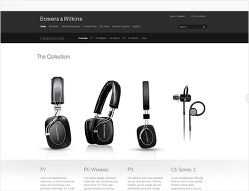 Bowers & Wilkins collection page