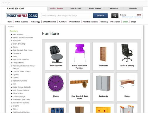 Monkey Office product listings page