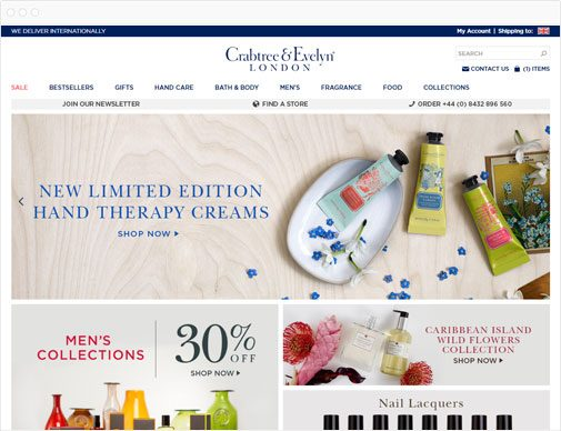 Crabtree & Evelyn homepage