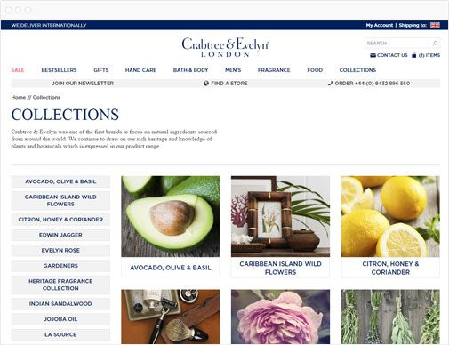 Crabtree & Evelyn collections page