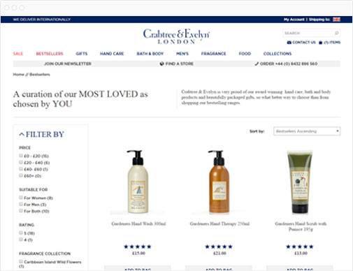 Crabtree & Evelyn product listings page