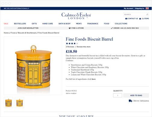 Crabtree & Evelyn product detail page