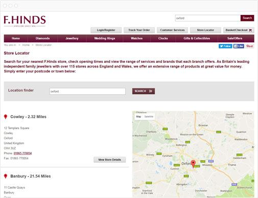 F. Hinds Store Locator