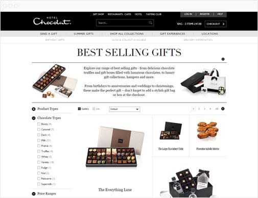 Hotel Chocolat product listings page
