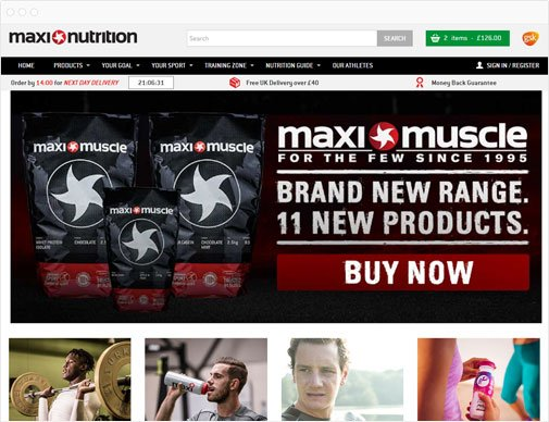 MaxiNutrition homepage
