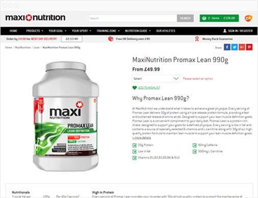 MaxiNutrition product page