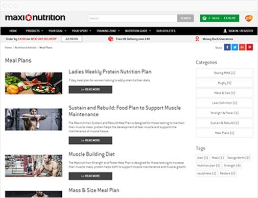 MaxiNutrition training plans