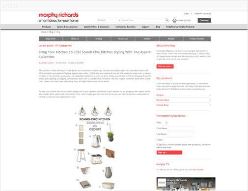 Morphy Richards blog page
