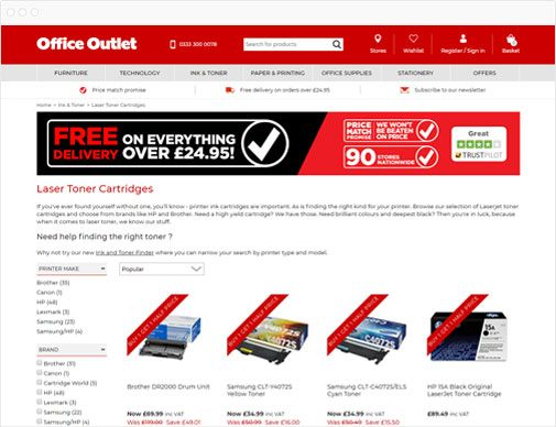 Office Outlet Category Listings Page