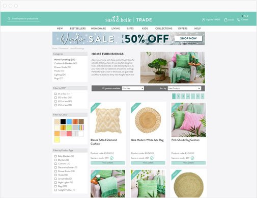 Sass & Belle trade category listings page