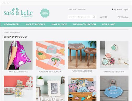 Sass & Belle trade home page