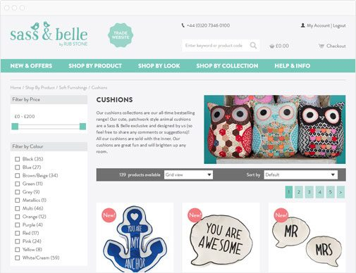 Sass & Belle trade product listings page