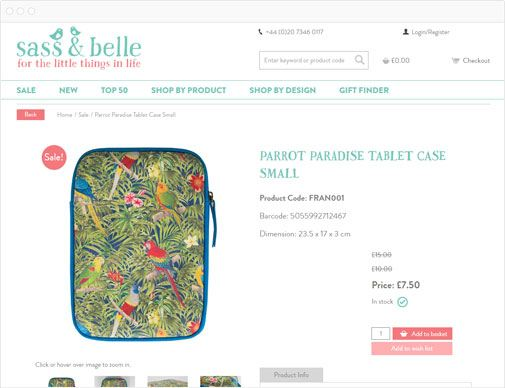Sass & Belle retail product page