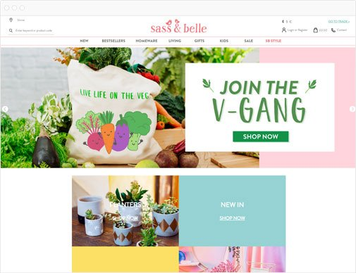 Sass & Belle Retail homepage
