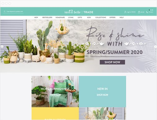 Sass & Belle trade homepage