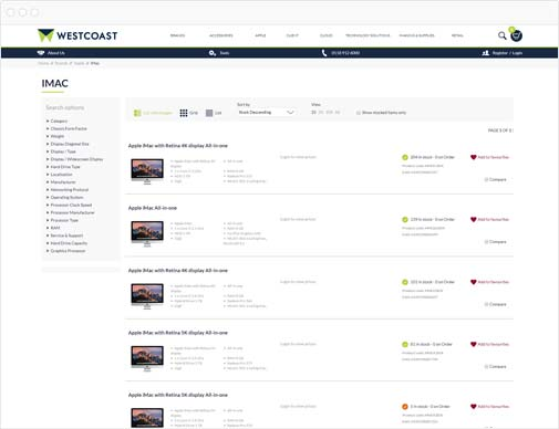 Westcoast product listings page